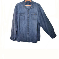 Vintage Denim Shirt Bass Shirt Men's Denim Shirt Button Down Shirt Long Sleeve Shirt Dark Denim Shirt Size XL