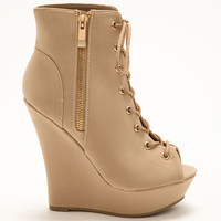 NUDE ZIPPER WEDGE BOOTIES