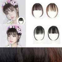 DCCKU7Q Clip On Clip In Front Hair Bang Fringe Hair Extension Piece Thin