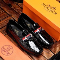 HERMES H logo Mens black COFFEE white 2020 Fashion Casual Leather Business low Top Embroidery Monogram Breathable Leisure Sport Shoes Sneakers running shoe flats AAA quality US6-US11