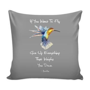 Hummingbird Buddha Quote Pillow