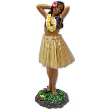 Leilani Hula Dashboard Doll - Girl in Hula Pose with Yellow Lei and Natural Skirt