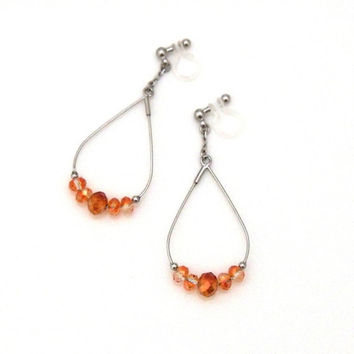 Pierced Look! Silver Dangle Hoop Orange Crystal Invisible Clip on Earrings,Non Pierced Crystal Earrings,Wedding Crystal Clip-on Earrings