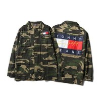 ICIKH3F Tommy Hilfiger' Men/Women Camo Denim Cardigan Jacket Coat