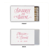 Wedding Favors Sparkle and Shine Matchboxes Foil Stamped Matches Personalized Rehearsal Dinner Bridal Shower Custom Matchbox Colors