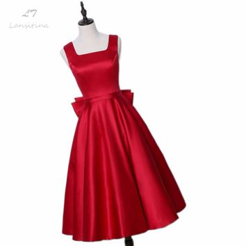 LANSITINA Tea-Length New Dark Red A-Line Evening Dresses Square Collar Satin Custom Made Prom Party Gown With A Big Bow