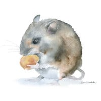 Watercolor Painting Mouse Giclee Print Reproduction - 8 x 10 - Field Mouse - Nursery Art