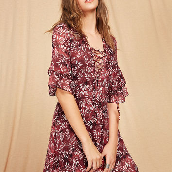Burgundy V-Neck Lace Up Calico Print Bell Sleeve Dress