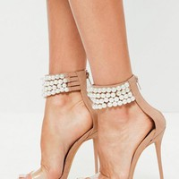 Missguided - Peace + Love Nude Pearl Strap Heels