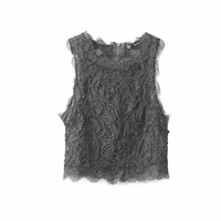 women sweet lace crop tops sexy sleeveless short shirts vintage casual slim blouses female fashion streetwear tops blusas WT371
