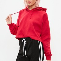 Missguided - Red Cropped Hoodie