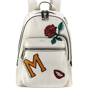 Marc Jacobs MJ Collage Biker Leather Backpack, Dove/Multi