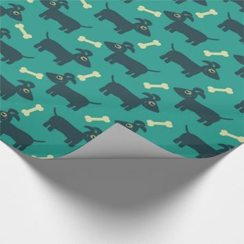 Cute Dog Pattern with Bone on Green Background Wrapping Paper