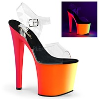 """Rainbow UV 7.5"""" High Heel Platform Dance Shoes Clear Ankle Strap Size 8"""