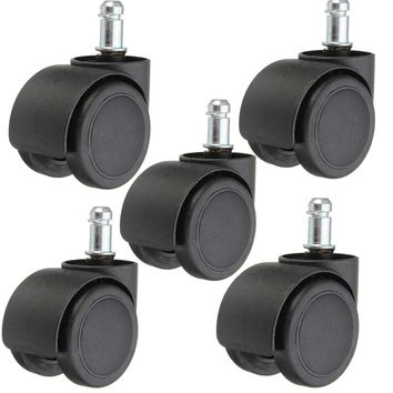 5pcs 50mm Heavy Duty Swivel Castor Wheels Trolley Furniture Caster Rubber