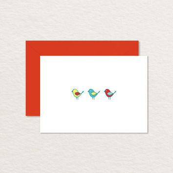 Three Birds 4 Bar Printable Note Card / Thank You Card / Bird Stationery
