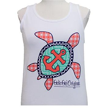 Girlie Girl Originals Turtle Anchor White Bright Tank Top