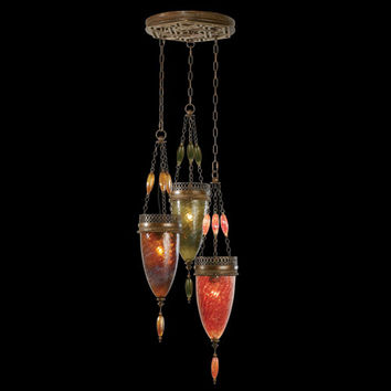 Fine Art Lamps 608640-6ST Scheherazade Three-Light Pendant in Aged Dark Bronze Finish and Hand Blown Glass in Vibrant Oasis Green, Amber Dunes and Sunset Red Colors