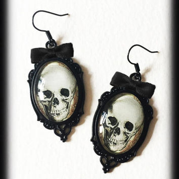 Gothic Skull Earrings, Glass Cameo Earrings, Alternative Jewelry, Gothic Earrings, Handmade Jewellery, Gothic Gift For Her, Gothic Jewelry