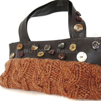 Brown Cable Knit Handbag in Faux Leather with - NOTON by Raquel, Etsy