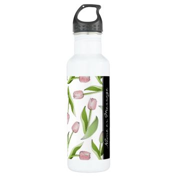 Pink Tulip Floral Patten Elegant Chic Spring Stainless Steel Water Bottle