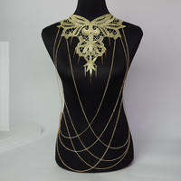 Big Fashion Necklaces& Pendants Women Gold Body Chain Necklace Lace Flower Collares Pendant Sexy Body Chains Luxury Jewelry