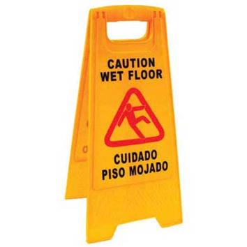 Jansan Sign, Caution Sign / wet Floor  English / Spanish, Please don't slip
