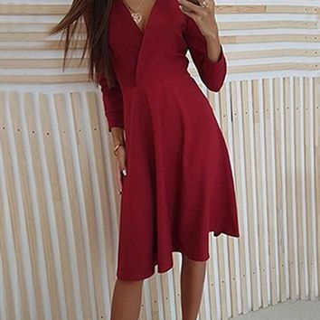 New Red Pleated V-neck Long Sleeve Homecoming Party Midi Dress