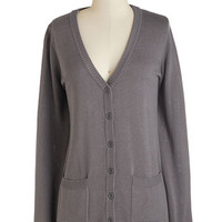 ModCloth Mid-length Long Sleeve Have a Good Knit Cardigan in Grey