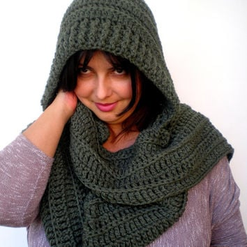 Military Green   Fashion Hooded Scarf Super Soft Acrilyc Fiber Hooded Neckwarmer Woman Hood Scarf NEW