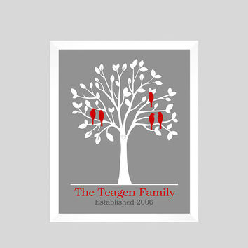 Love Birds Family Tree, Family Tree Print, Anniversary Gift, Gift for Wife, Personalized Wedding or Anniversary Gift CUSTOMIZE YOUR COLORS