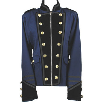 Kixters Lennon - Navy Cotton/Black Velvet Military Jacket