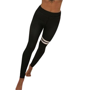 Leggings Women Workout Clothes Striped Patchwork Fitness Leggings Sweatpants Calzas Mujer Leggins#121 SM6