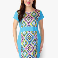 Light Blue Contrast Illusion Dress