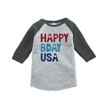 Custom Party Shop Youth Happy Bday USA 4th of July Grey Baseball Tee 5T