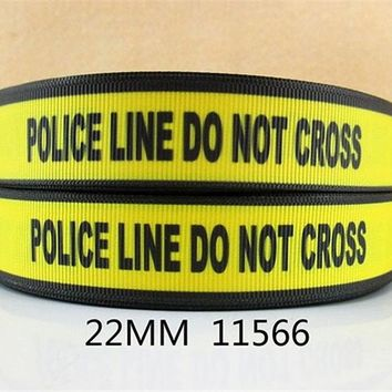 "7/8"" Police peace love  series  rescue polyester ribbon 50 yards,DIY handmade materials,wedding gift wrap,50Yc1438"