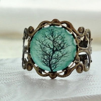 FREE SHIPPING SALE- Aqua Tree Filigree Statement Ring