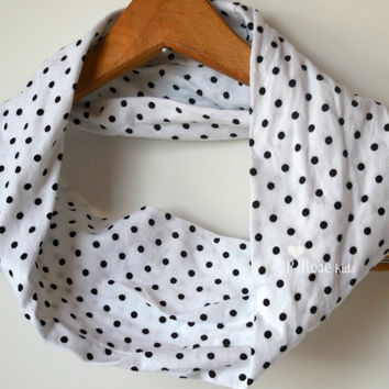 Girls Infinity Scarf, Black Polka Dots on White, T-shirt Fabric, Boho Scarf, Childs Accessory in Size 12 months, 2T, 3T, 4T, or 5/ 6,