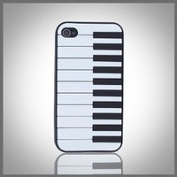 "Piano Keyboard on Black ""Flexa"" flexible silicone soft skin case cover for Apple iPhone 4 4G 4S"