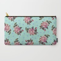Pink Roses on Blue Carry-All Pouch by Sandra Arduini | Society6