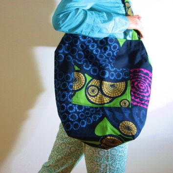 Green tote green cotton tote green Blue canvas gym bag green blue tote Geometric pattern book bag  reusable market bag ready to ship ALICE