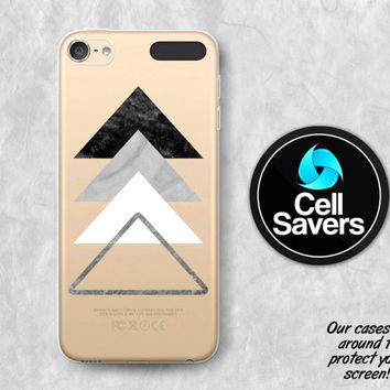 Marble Triangles Clear iPod 5 Case iPod 6 Case iPod 5th Generation iPod 6th Generation Rubber Case Gen Clear Case Gray Marble Tumblr Cute