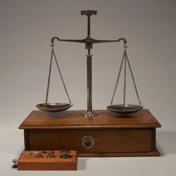 Jewelers Balance Scale for Weighing Gold, Silver, Gemstones - 1930's - 1940's