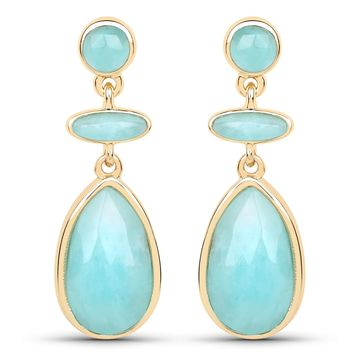 LoveHuang 6.59 Carats Genuine Amazonite Art Deco Earrings Solid .925 Sterling Silver With 18KT Yellow Gold Plating