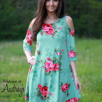 Cold Shoulder Mint A-Line Dress with Floral Print