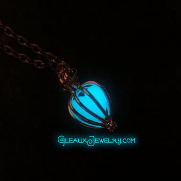 Aqua Glow Heart In A Cage Necklace Silver