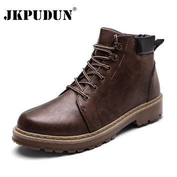 JKPUDUN Winter Ankle Boots Men Casual Shoes Lace-Up Autumn Leather Martin Boots Waterproof Work Tooling Mens Boots Cowboy Botas