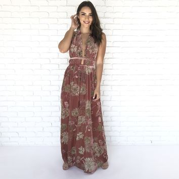 Hawaiian Punch Velvet Maxi  Dress