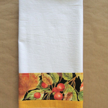 Flour Sack Towel - Kitchen Dish Towel - Lint Free Tea Towels - Floral Fabric Trimmed Towel - Decorative Embellished Towel - Autumn Fall