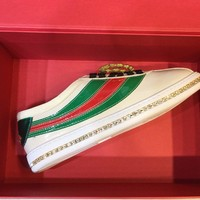 GUCCI Falacer patent leather sneaker with crystals